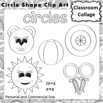 Circle Shape Clip Art line drawing B/W personal & commerci