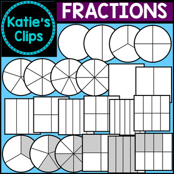 Circle & Square Fractions {Katie's Clips Clipart}