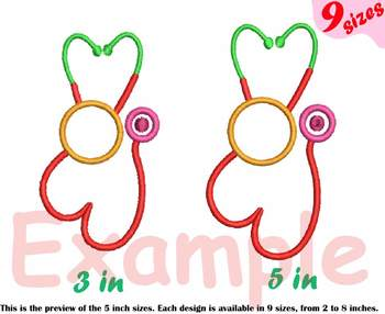 Circle Stethoscope Heart Embroidery Design Nursing Nurse frame doctor love 211b