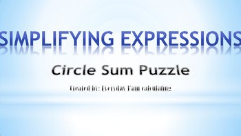 Circle Sum Puzzle(Simplifying Expressions)