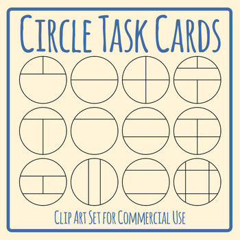 Circle Task Card Templates Clip Art Set for Commercial Use