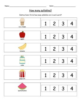 Circle The Syllable Worksheet