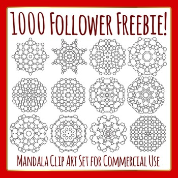Circle Themed Mandalas - 1000 Follower Freebie Commercial Use Clip Art