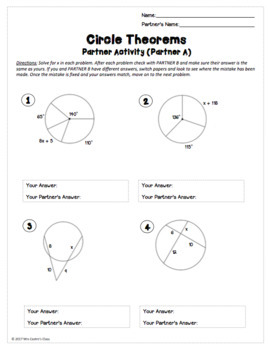 Geometry Circle Theorems: Partner Worksheet