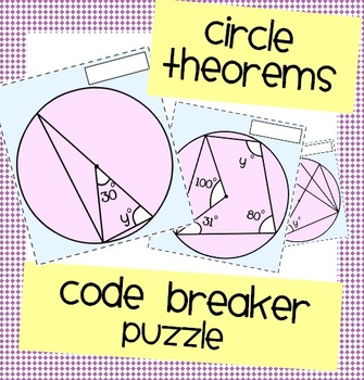 circle theorems code breaker puzzle by nicola waddilove tpt. Black Bedroom Furniture Sets. Home Design Ideas