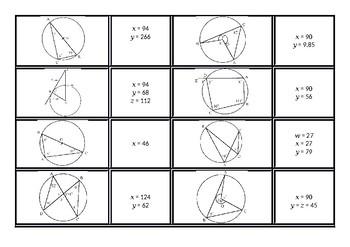 Circle Theorems Dominoes Card Sort