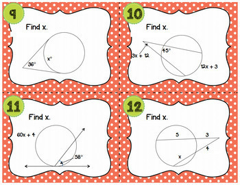 Geometry Circle Theorems Task Cards