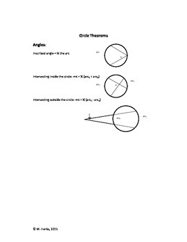 Circle Theorems for the Geometry Interactive Notebook