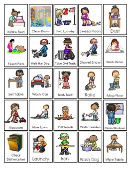 printable chore chart chores and responsibilites chart by teach at