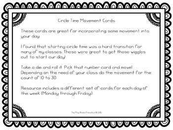 Circle Time Movement Cards
