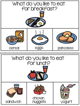 Question of the Day for Special Needs Kids...FOOD (Boardmaker Symbols)