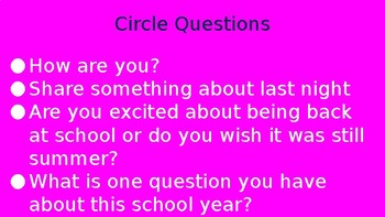 Circle Time Questions (Full School Year)