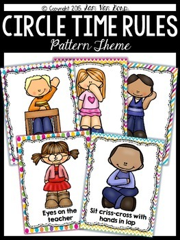 Circle Time Rules Posters {Pattern Theme}