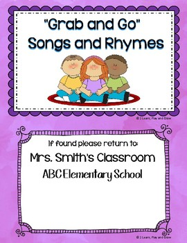 Circle Time Songs Editable Cover for Grab and Go Songs
