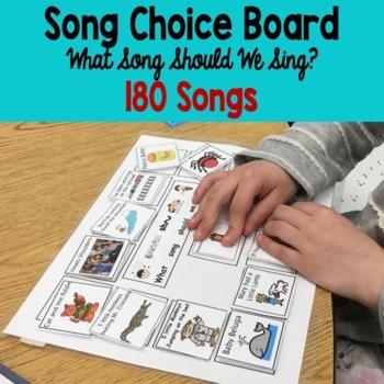 Preschool-Kindergarten song choice board: Regular and Special Education