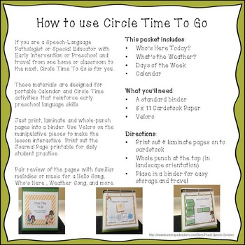 Circle Time To Go - Calendar Basics for Speech Therapy