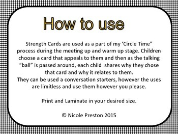 Circle Time or Class Meeting Strength cards.