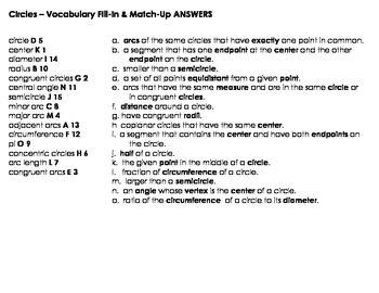 Circle Vocabulary Fill-In & Match-Up