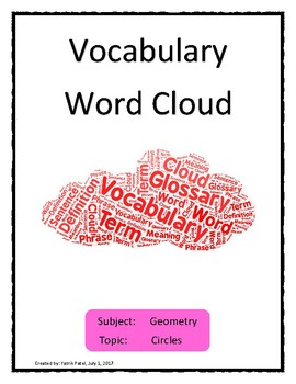 Circle Vocabulary Word Cloud 1 Word Bank Handout Geometry