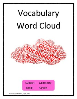 Circle Vocabulary Word Cloud 2 Word Bank Handout Geometry