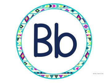 Circle Word Wall Letters - Bright Tribal
