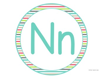 Circle Word Wall Letters - Country Cool - Teal, Green, Coral, Gray, Tan