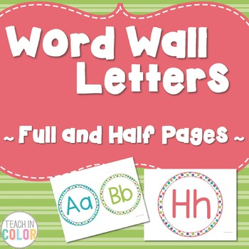 Circle Word Wall Letters - Dots, Green, Purple, Teal, Red