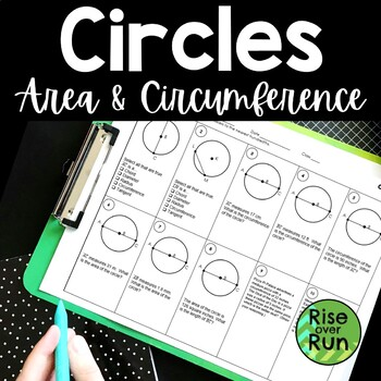 Circle Worksheet, Calculating Circumference and Area