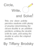 Circle, Write, and Solve! Doubles Plus One Addition Problems