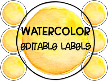 Yellow Watercolor Editable Circle Labels