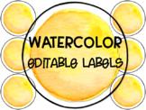 Yellow Watercolor Editable Circle Labels