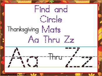 Circle and Find Thanksgiving Aa Thru Zz Mats