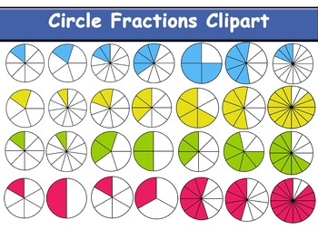 Circle and Polygons Fractions Clipart