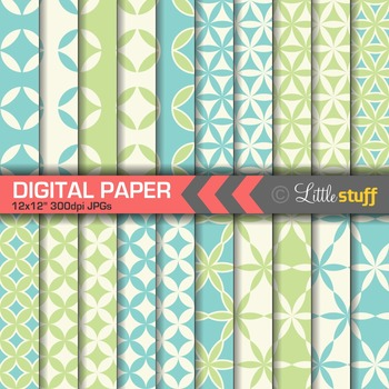 Circle and Wedge Designs Digital Paper in Blue and Green