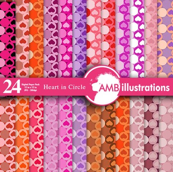Digital Papers - Circle and Hearts Digital Paper, Valentines Day AMB-330