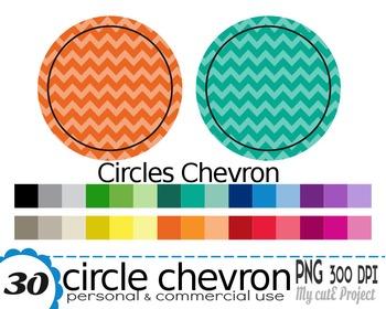 Circle chevron - Clipart - 30 colors - 30 PNG files - 300 dpi - Instant download