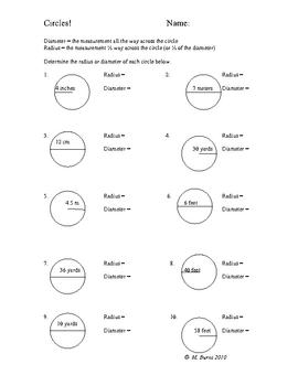 Circle diameter and radius practice