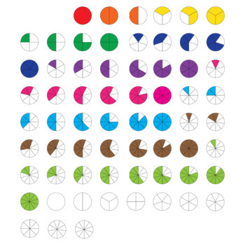 Circle fractions clip art (set 3)