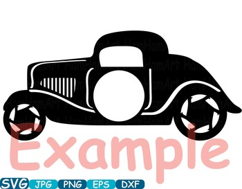 Circle frame Old Cars Sport Antique Car ClipArt Retro Hot Rod circus race -331S