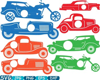 Circle frame Old Cars Sport Antique Car ClipArt Retro Hot Rod circus race -332S