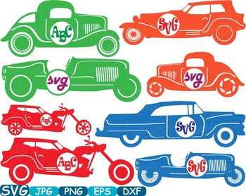 Circle frame Old Cars Sport Antique Car ClipArt Retro Hot