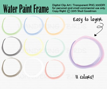 Circle frames - Water colors clip art