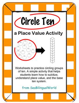 Circle groups of ten - Place Value worksheet