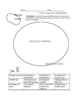 Circle of Control: Who's Responsible? Self Control, Responsibility Worksheet