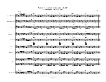 Circle of Fourths Scale and Chords Sheet - Jazz Band Grades 6-12