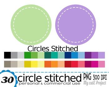 Circle stitched - Clipart - 30 PNG files - Scrapbooking clip art - CA8