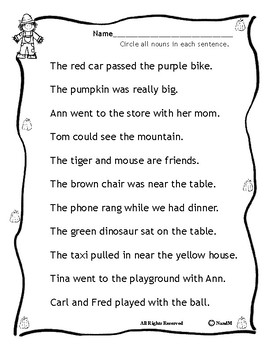 Circle the Nouns - Fall / Autumn Back to School