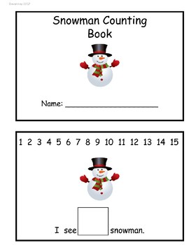 Circle the Number Snowman Counting Book- Numbers 1-15