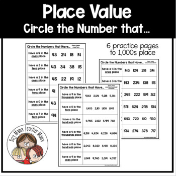 Circle the Number that has... A Place Value Activity
