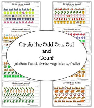 Circle the odd one out and count (fruits, vegetables, clothes, food, drinks)